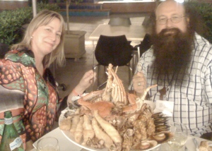 Carolyn and Fuzz Kitto with the Seafood Platter